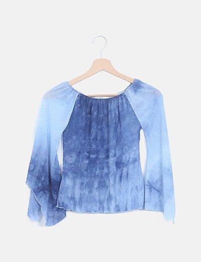 Camiseta cuello barco azul manga campana