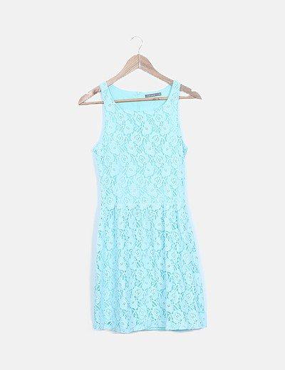 Vestido mini turquesa crochet