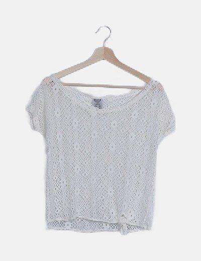 Top blanco crochet