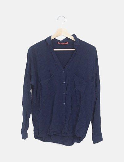 Camisa azul marino elástico en cintura
