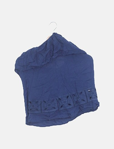 Camiseta azul volante halter