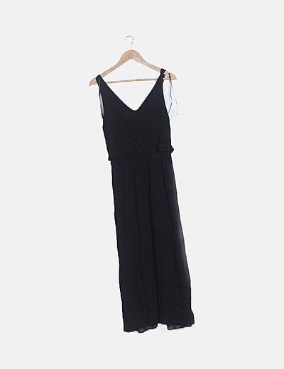 Vestido maxi texturizado negro