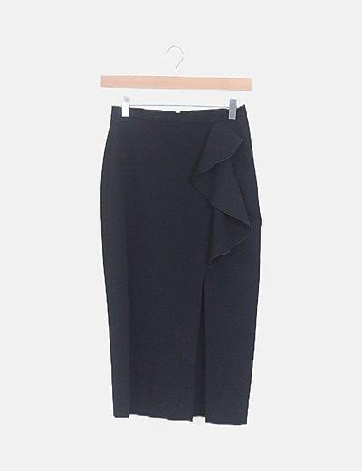 Falda midi negra volante con abertura