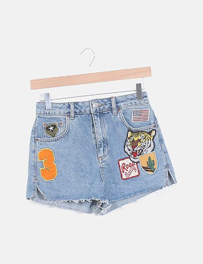 Shorts mon fit denim patchwork