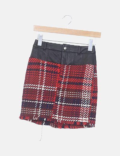 Mini falda tweed combinado polipiel