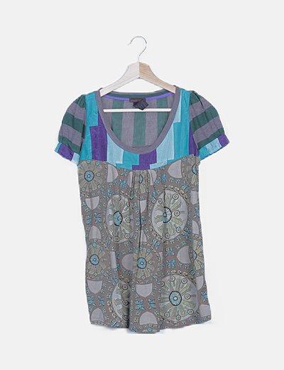 Blusa estampado combinado multicolor