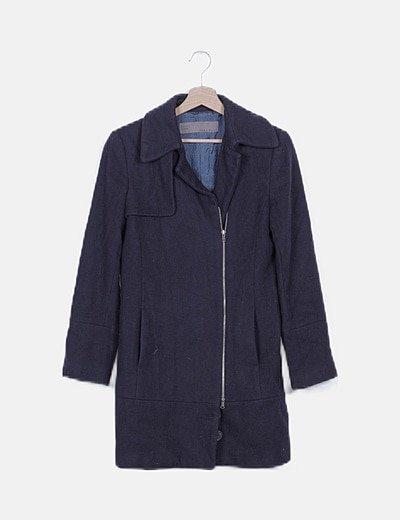 Abrigo paño azul marino con cremallera