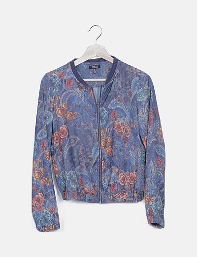 Bomber azul print floral