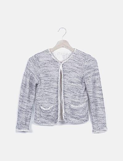 Chaqueta tweed gris detalles glitter