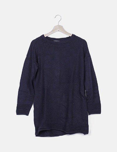 Vestido tricot azul marino