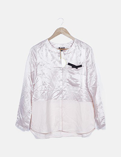 Camisa satén rosa palo combinada