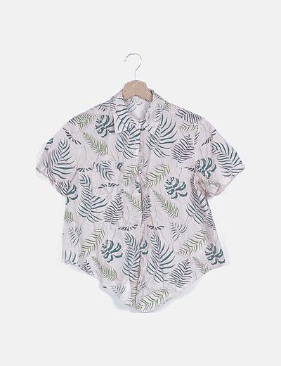 Camisa nude estampado tropical