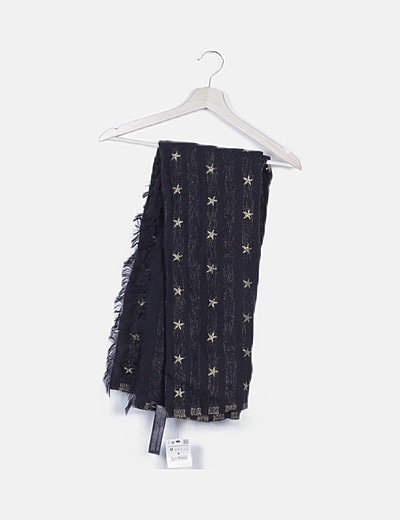Pañuelo negro estrellas glitter