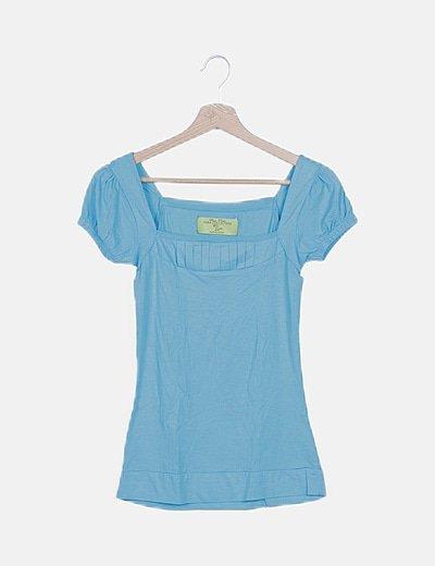 Camise azul detalle mangas