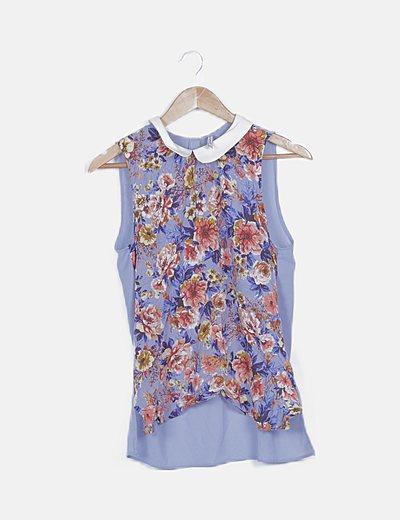 Blusa azul print floral