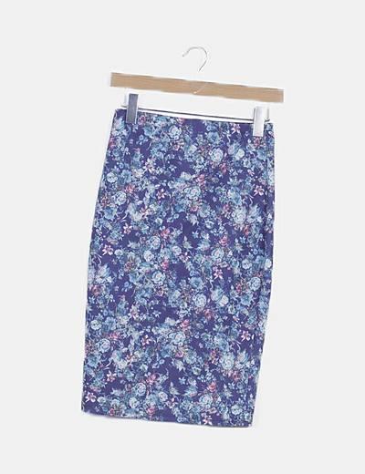 Falda midi azul print floral