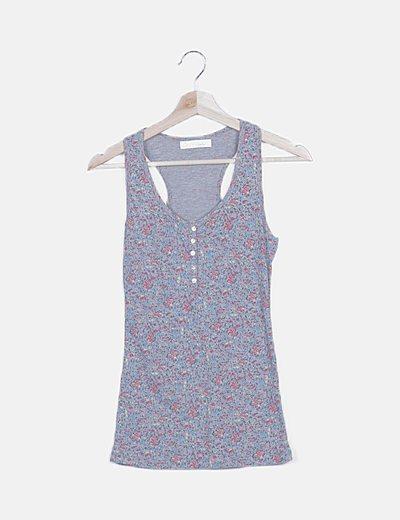 Camiseta tirante gris estampado floral