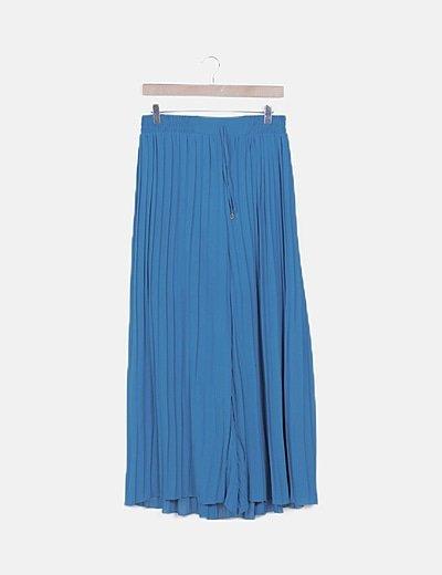 Pantalón azul agamarina plisado