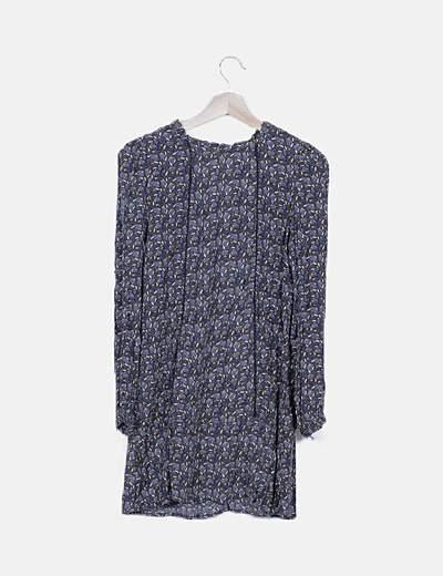 Vestido camisero azul estampado floral