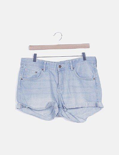Pantalón short denim efecto desteñido