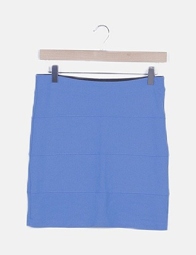 Falda de tubo azul texturizado