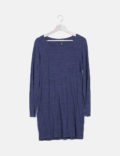 Vestido básico azul marino jaspeado