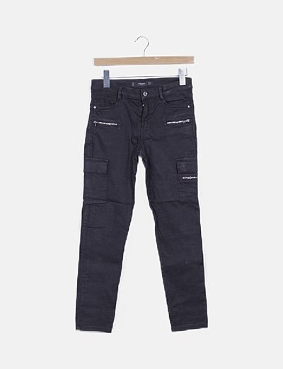 Jeans negro cremalleras