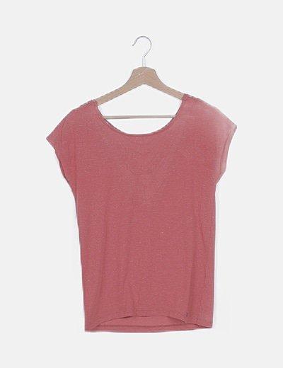 Camiseta teja jaspeada detalle espalda