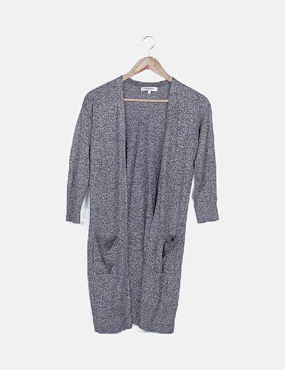 Cárdigan tricot gris jaspeado