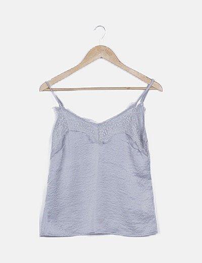 Blusa gris lencera satinada