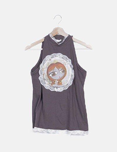 Camiseta mamaron sin mangas ribetes lencero