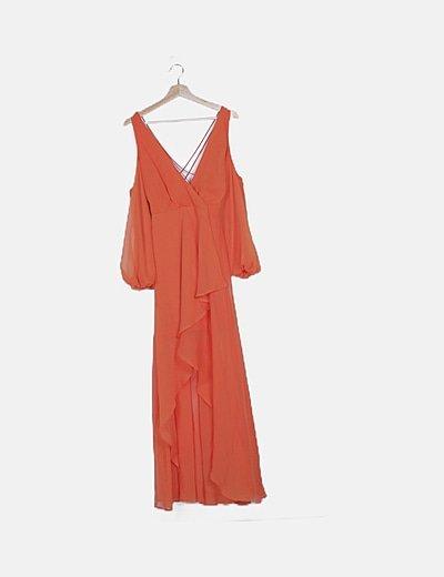 Vestido naranja asimétrico tiras cruzadas