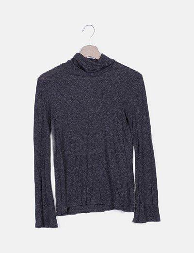 Jersey gris oscuro glitter cuello vuelto
