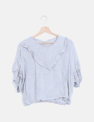 Camiseta manga corta volantes jaspeado gris