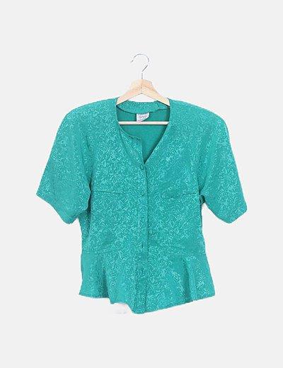 Camisa verde floral satinada