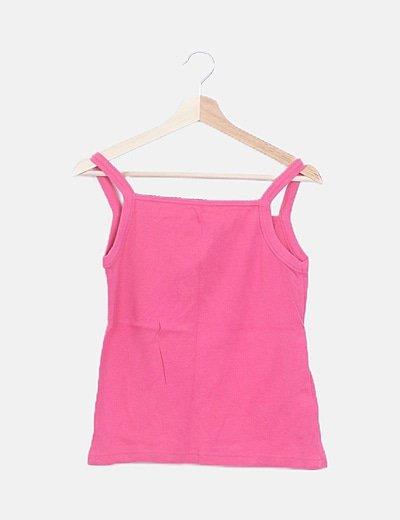 Conjunto camiseta tirantes y chaqueta tricot rosa