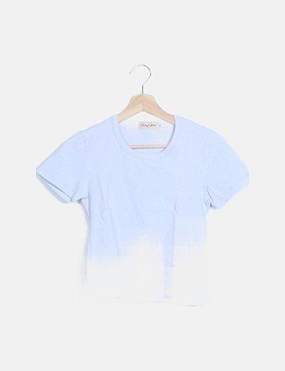 Camiseta crop azul manga corta