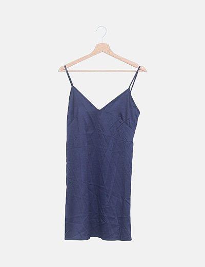 Vestido satén azul marino