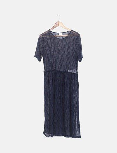 Vestido midi semitransparente topos azul