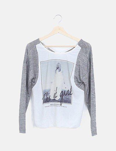 Camiseta combinada irisada gris