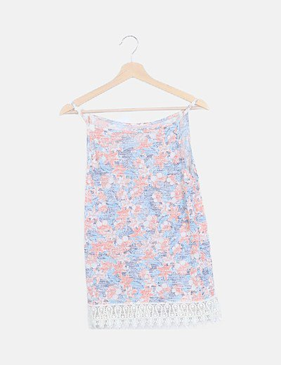 Camiseta floral combinada tirantes