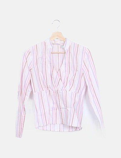 Blusa rayas escote cruzado multicolor manga larga