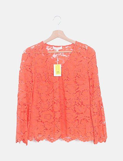 Camiseta manga larga crochet coral