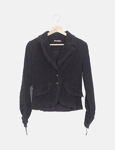 Blazer pana negra manga larga