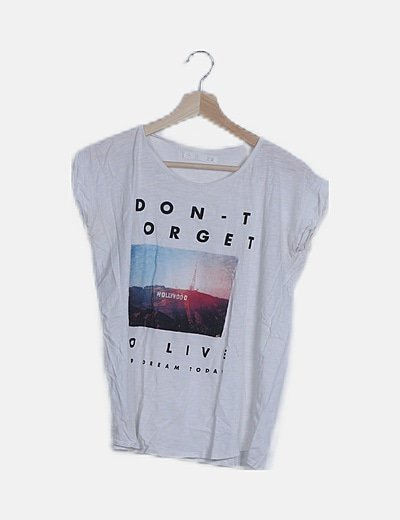 "Camiseta manga corta print ""Don forget to live"""