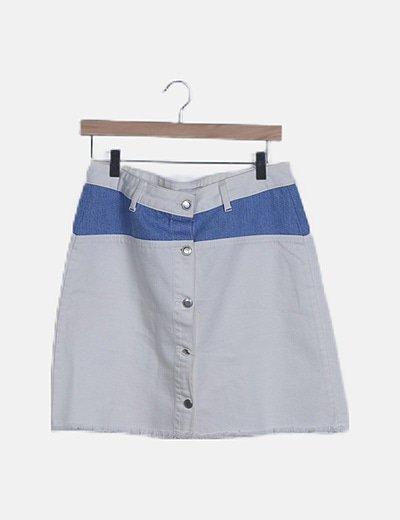 Falda mini blanca raya denim