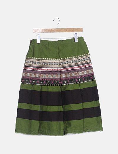 Falda midi estructurada estampado étnico