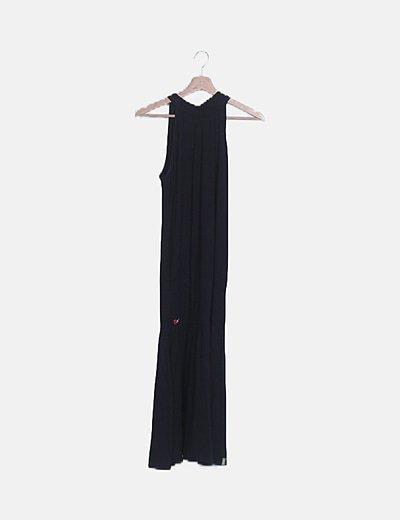 Vestido maxi fluido negro detalle lazo