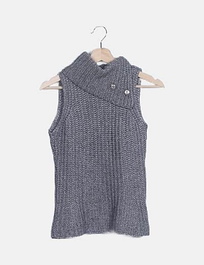 Jersey sin mangas gris jaspeado de punto