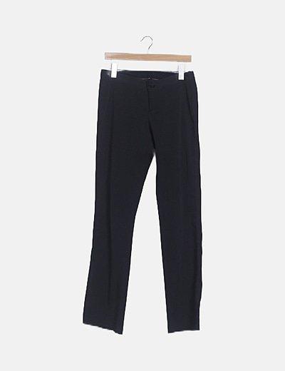 Pantalón recto negro satén